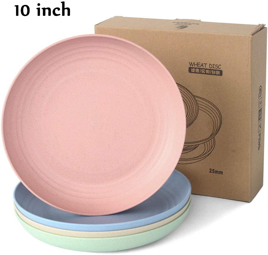 JUCOXO 10 Inch Dinner Plate Wheat Straw Unbreakable Plate, Durable and Lightweight Extra Large Deep Plates BPA Free - Refrigerator & Dishwasher & Microwave Safe