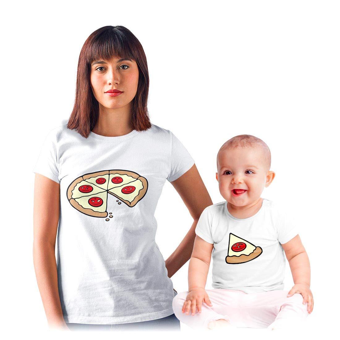 Shirtgeil Coppia Maglie per Mamma e Figlio/Figlia Divertente - Pizza k0b1klZV1hhE