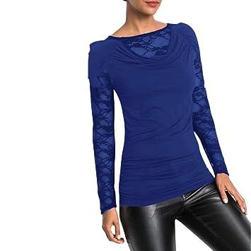 95c14eaacbe160 Btruely Damen Shirt Elegante Bluse Damen Sexy Slim Fit Top Frauen  Langarmshirt Schulterfreie Oberteile Patchwork Langarmshirt