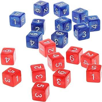 MagiDeal 20 Piezas D6 Dados de Seis Caras de Números para Jugar DND RPG Juegos - Azul y Rojo: Amazon.es: Juguetes y juegos