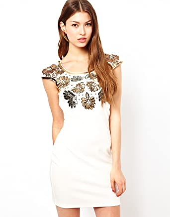 Lipsy Sequin Embellished Floral Evening Party Club Prom Dress (UK 8, Off White (