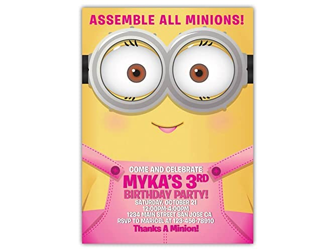 Image Unavailable Not Available For Color Minions Birthday Party Invitations ANY AGE Custom