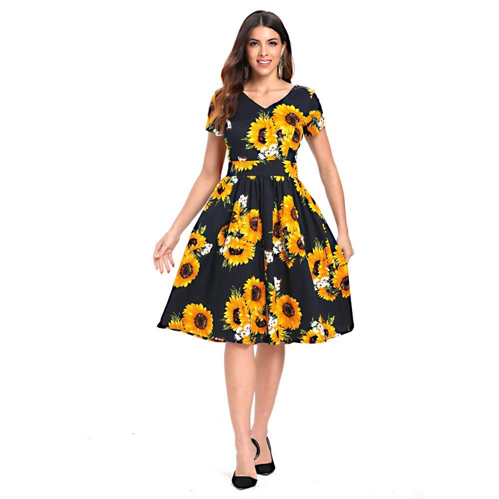 TALLA S/EU34. Vestido Mujer Vintage Años 50s Estampado Girasol Vestido Elegante Trapecio Rockabilly Cintura Alta Manga Corta Cuello V