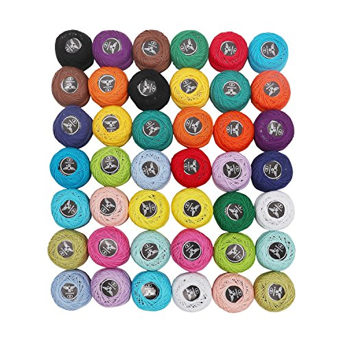 Kurtzy - Hilos / hilo ganchillo - 42 Piezes Hilo de Algodón - Colores del arco iris surtidos ganchillo hilo - 1995 Yardas en total - hilo para tejer a ...