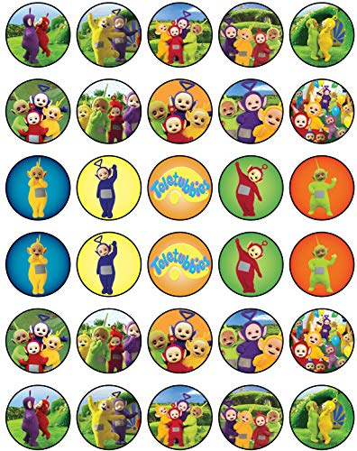 30 x Edible Cupcake Toppers - Teletubbies Party Collection of Edible Cake Decorations | Uncut Edible Prints on Wafer Sheet -