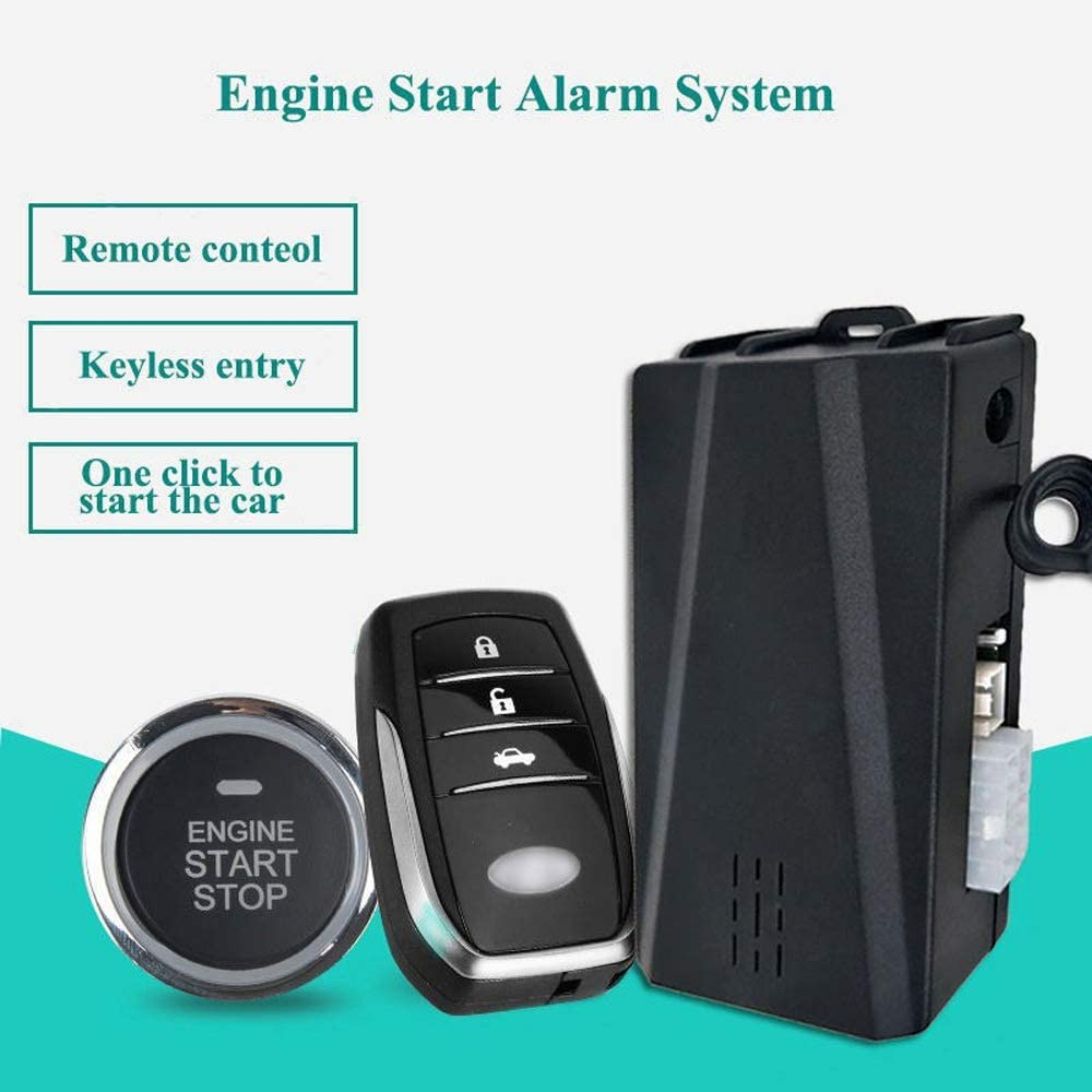 Ybriefbag Car Alarm 12V General Vehicle Anti-Theft Car Alarm System Remote Start Remote Controller Keyless Entry PKE One Key Start Color : Black, Size : A