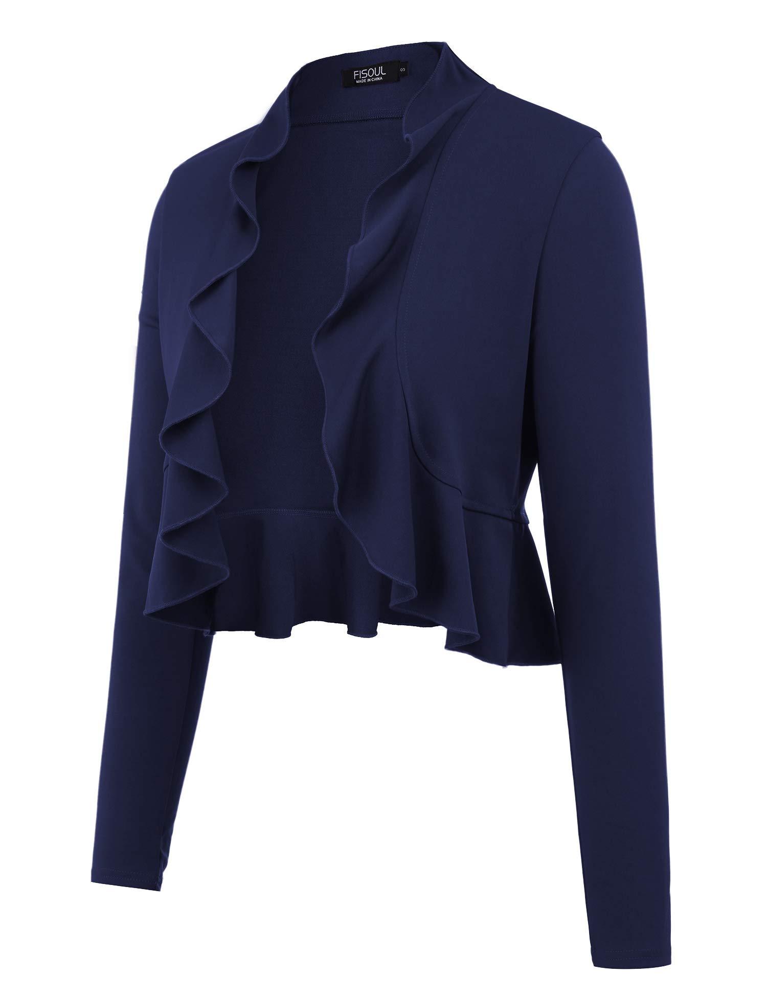FISOUL Women's Open Front Cropped Cardigan Lone Sleeve Casual Shrugs Jacket Draped Ruffles Lightweight Sweaters Navy Blue S