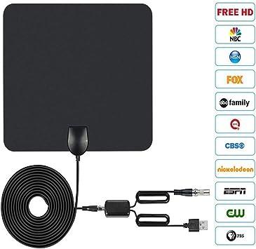 Antena de TV HD, Antena de TV de 50 Millas con un Amplificador de señal Desmontable, Se Utiliza para Mejorar la señal, VHF/UHF/FM, Diseño Ultrafino y Suave.: Amazon.es: Electrónica