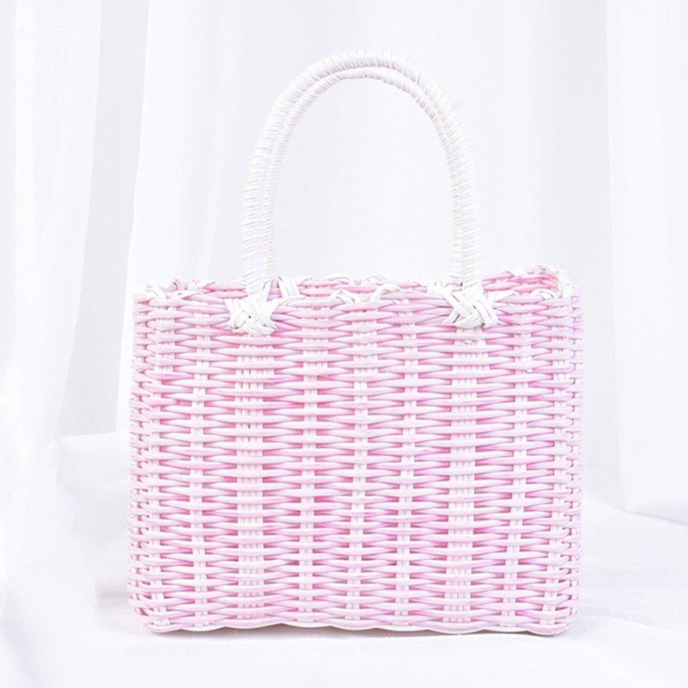 SEESUNG Plastic Woven Bath Blue Bathroom Storage Basket Basket Baby Portable Basket Basket Hanging Basket Flower Basket, Pink