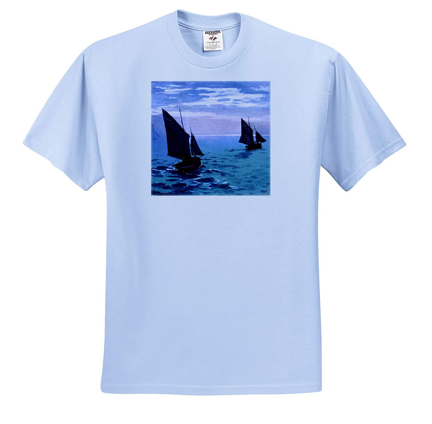 Claude Monet T-Shirts 3dRose VintageChest Fishing Boats on Their Way Masterpieces