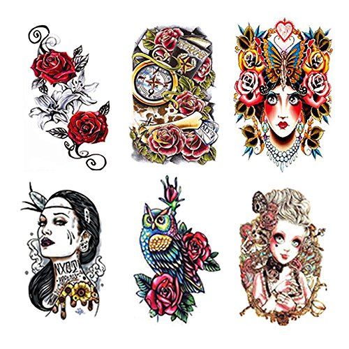 Fake Waterproof Removable Temporary Tattoos - Fashion Lady Long Lasting Body Art Stickers - Red Rose Evil Sexy Lady Cat Women Clock Bone Cute Owl - 6 Styles Body Painting (Temporary Rose Tattoos)