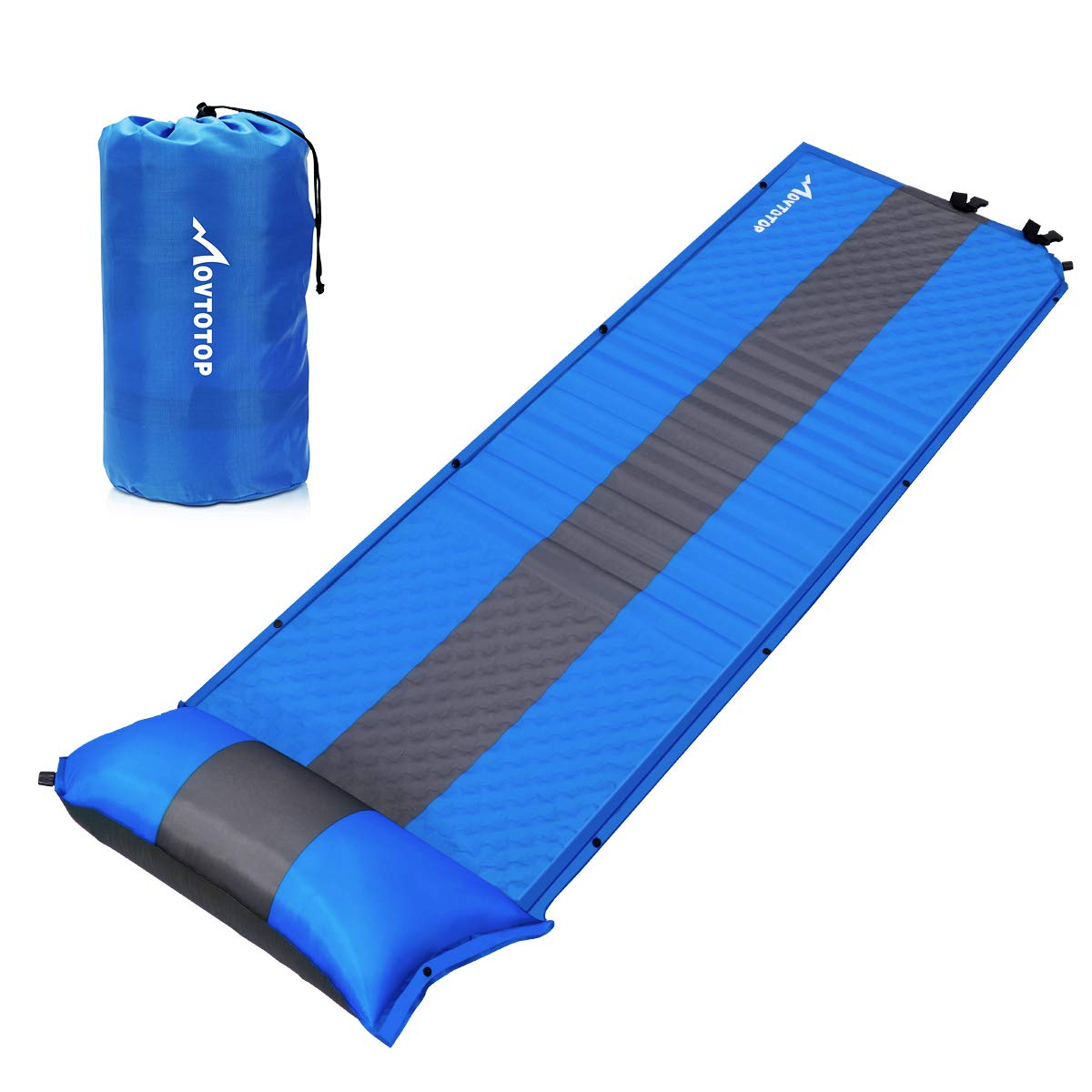 MOVTOTOP Self Inflating Sleeping Pad (78.7×25.6×1.2 inches), Comfortable Foam Camping Mat with Attached Self-Inflating Pillow Light Weight Camping Air Mattress for Hiking Backpacking by MOVTOTOP
