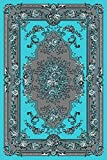 Turquoise Gray White Black 5×7 (5'2×7'2) Black Isfahan Area Rug Oriental Carpet Large New 662 For Sale