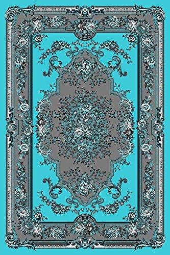 Turquoise Gray White Black 5x7 5 2x7 2 Black Isfahan Area Rug Oriental Carpet Large New 662