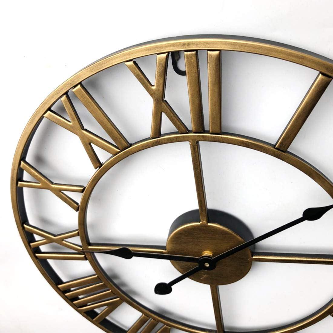 Yavso Wanduhr Vintage 24 Zoll Wanduhr Gro/ß 60 cm Wanduhr Ohne Tickger/äusche Metall Wanduhr Dekorative f/ür Wohnzimme und Schlafzimmer 60 cm