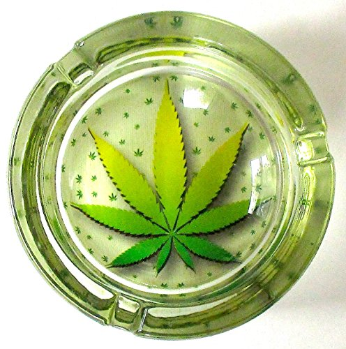 Marijuana-Weed-Classic-Round-Glass-Ashtray