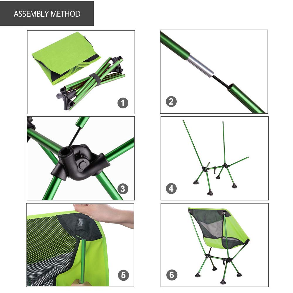 BERSERKER OUTDOOR Ultralight Compact Folding Camping Chair Black Portable Lightweight Backpacking Chair with All-Terrain Dynamic Adjustment Feet/& Heavy Duty 300lbs for Outdoor Camp Hiking
