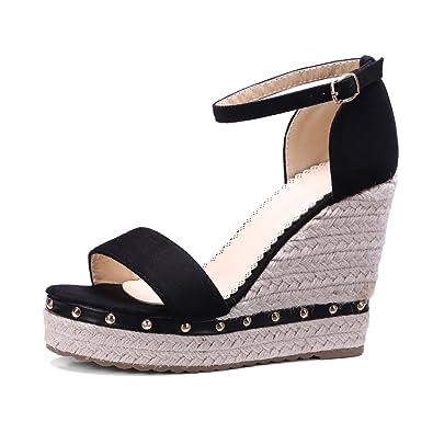Women Sandals Platform High Heels Rivet Buckle Ankle Strap Wedges Summer Shoes