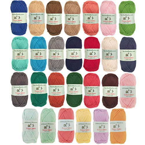 Cotton Select Yarn - 8 Skeins - Assorted Color Surprise Package (Cotton Sock Yarn)