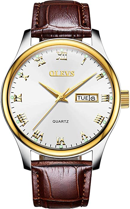 OLEVS Mens Womens Leather Watch,Fashion Casual Gold Couples Watches for Women Men,Waterproof Quartz Brown Wrist Watch Easy Reader Quartz Analog Leather Strap Watch with Date and Day Feature