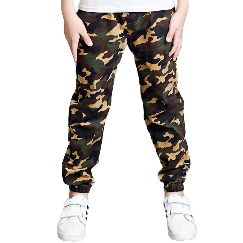 DREAMOWL Boys Camouflage Cotton Pants Kids Elastic Trousers