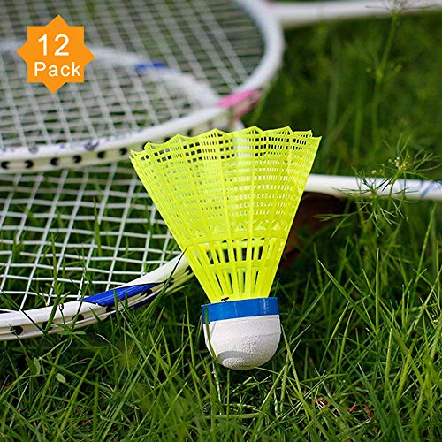 ZHENAN 12-Pack Advanced Nylon Feather Shuttlecocks,77 Grains-High Speed Badminton Balls (Yellow,Nylon) Great Stability Durability,Indoor Outdoor Sports Hight Speed Training Badminton Shuttlecocks