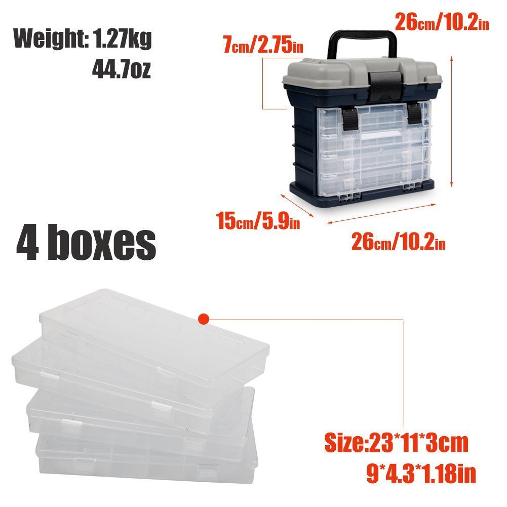 Portable Handheld Fishing Tackle Box 4 Layers Bulk Drawer Organizer Tool Fishing Lures Hooks Accessories Storage Tray Bait Case with Handle Utility Box by Unknown (Image #2)