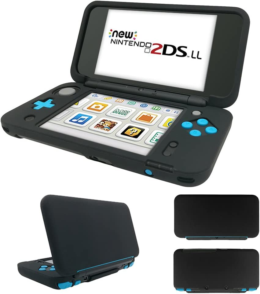 MaxKu Newニンテンドー2DS LL シリコンカバー 一体型 水洗可能 ソフトカバー 全面保護 着脱簡単 Nintendo 2DS LL シリコンプロテクタケース (ブラック)