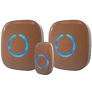 Wireless Doorbell by SadoTech – Waterproof Door Bells & Chimes Wireless Kit – Over 1000-Foot Range, 52 Door Bell Chime, 4 Volume Levels with LED Flash – Wireless Doorbells for Home – Model CXR (Brown)