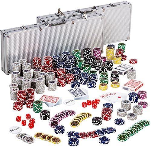 2 x Malettes Professionnelle de Poker Coffret de Poker Ultime - 500 jetons Laser 12 g avec Insert en métal - 2 Jeux de Cartes - 5 dés - 1 jeton Dealer - Mallette en Aluminium