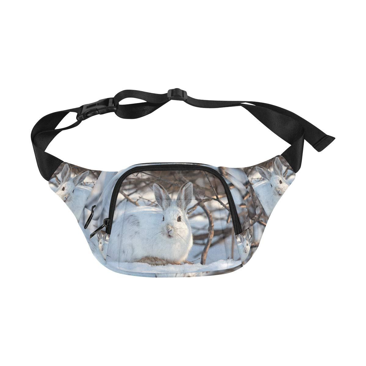 White Snow Hare Rabbit In Winter Fenny Packs Waist Bags Adjustable Belt Waterproof Nylon Travel Running Sport Vacation Party For Men Women Boys Girls Kids