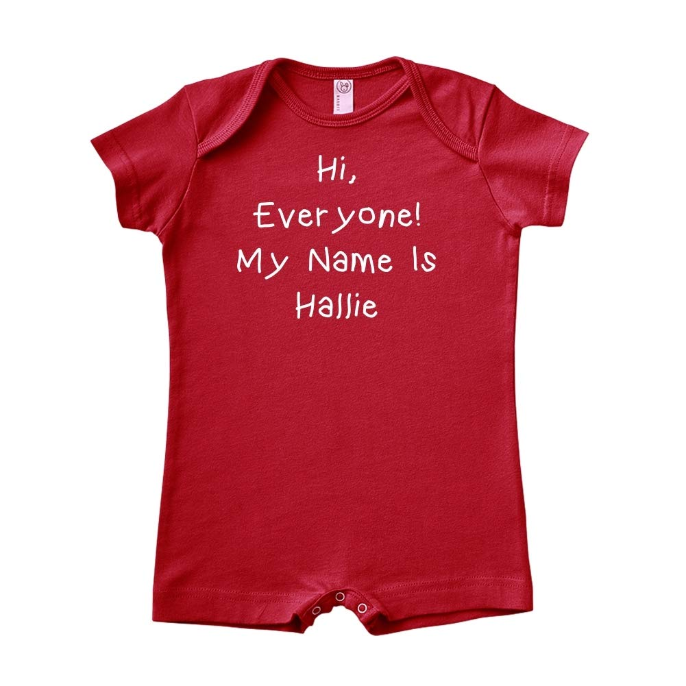 Personalized Name Baby Romper Mashed Clothing Hi Everyone My Name is Hallie