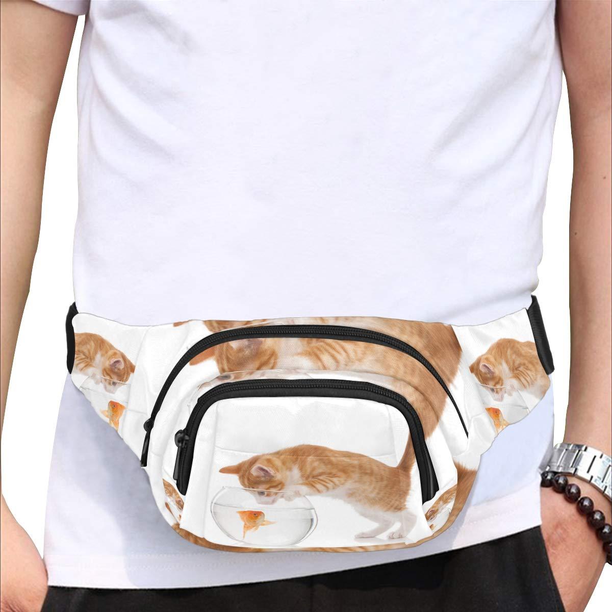 Lovely Kittens And Fish Fenny Packs Waist Bags Adjustable Belt Waterproof Nylon Travel Running Sport Vacation Party For Men Women Boys Girls Kids