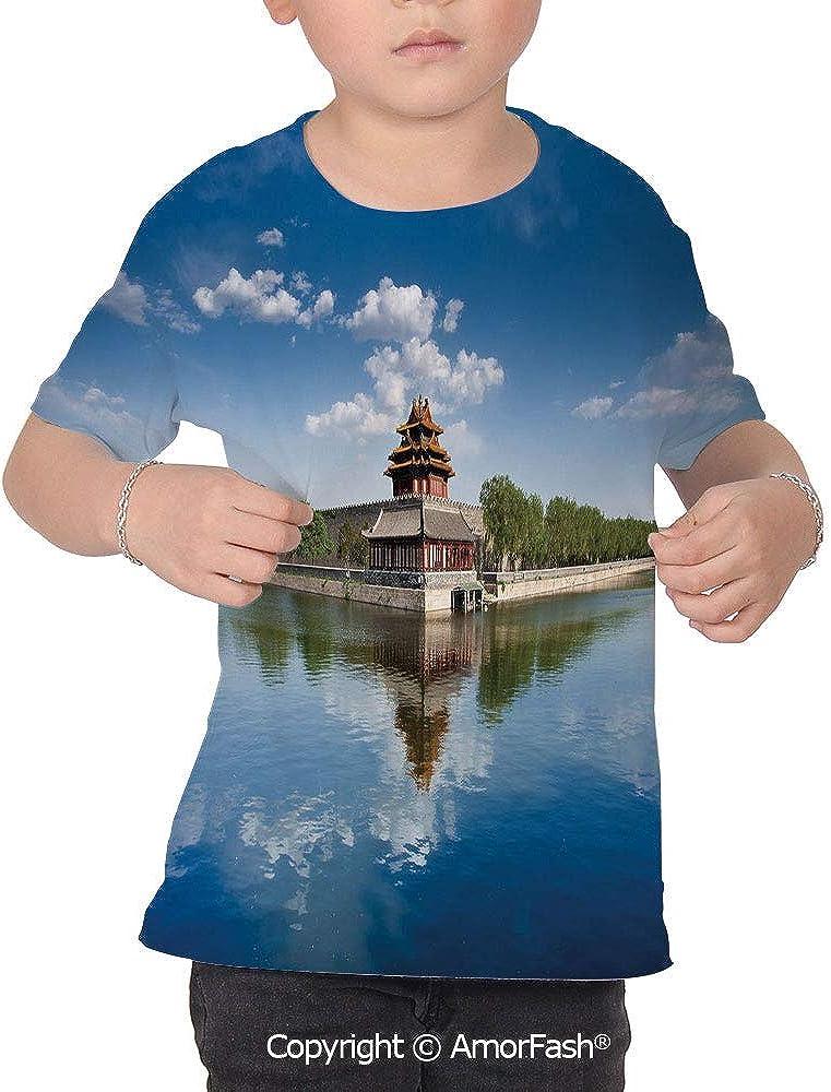 PUTIEN Ancient China Decorations Girl Regular-Fit Short-Sleeve Shirt,Personality Patter