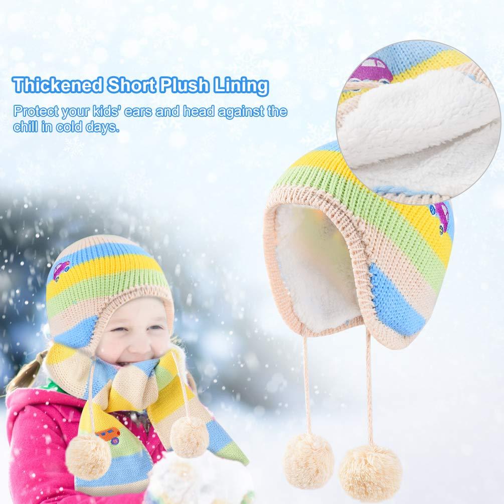VBIGER Kids Winter Hat Scarf Gloves Knitted Set Aged 1-5
