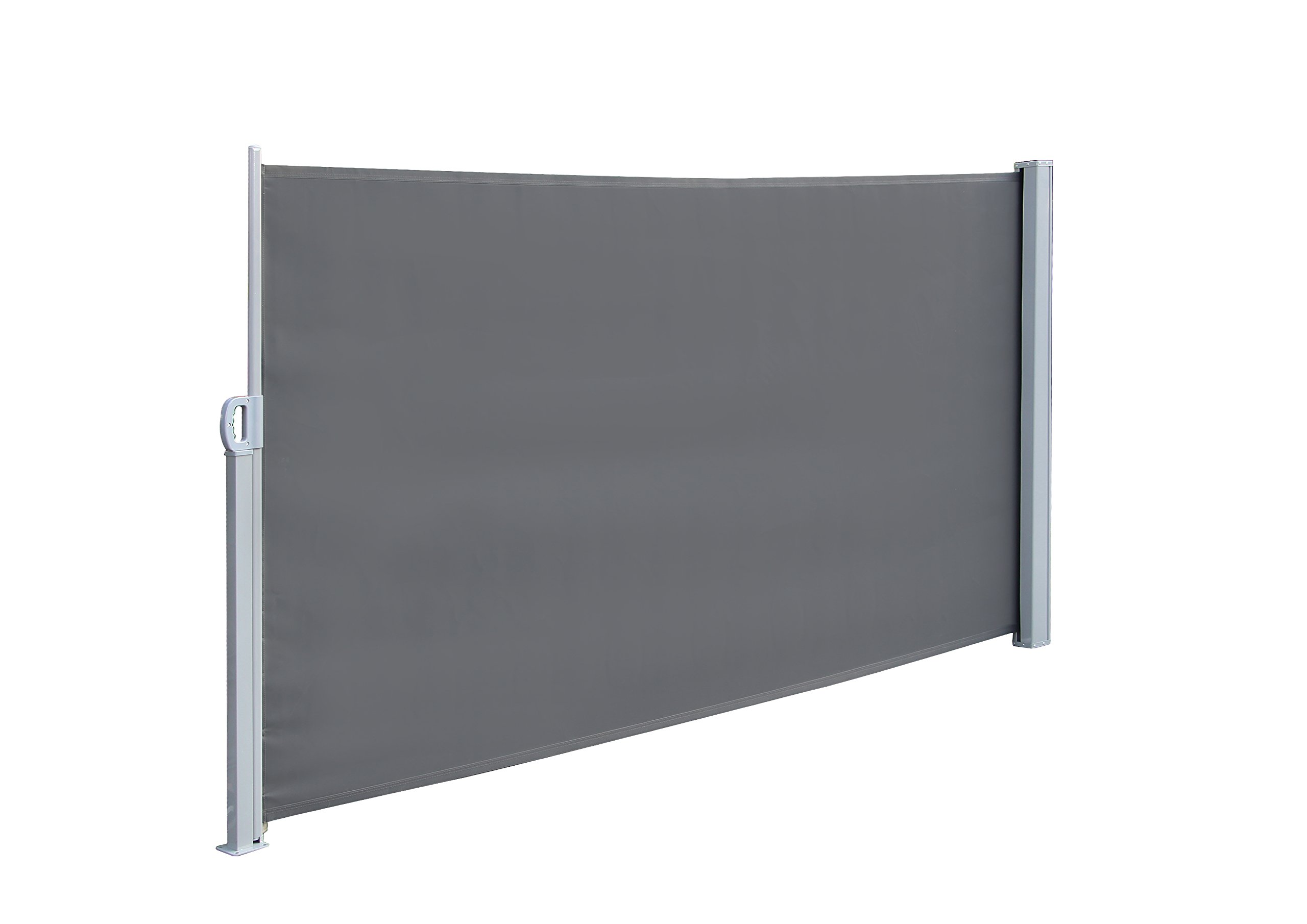 Simlife Retractable Side Awning Folding Screen Patio Garden Outdoor Privacy Divider with Steel Support Pole, 70.8'' X 117.6''180G Light Weight(Gray)