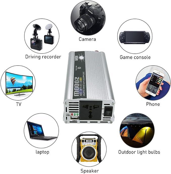 KKmoon 2000W Inversor de Corriente Portatil DC 12V a AC 220V Convertidor Adaptador de Fuente de Alimentacion: Amazon.es: Electrónica