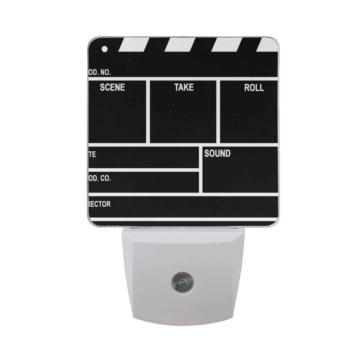 ALAZA Film Clap Board Movie LED Night Light Dusk to Dawn Sensor Plug in Night Home Decor Desk Lamp for Adult