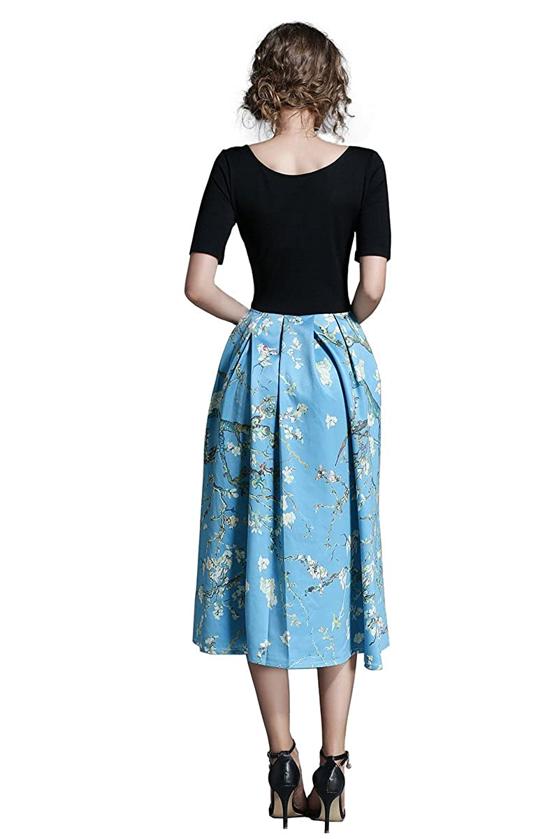 Sepchir Womens Long Dress Middle Sleeve Splicing Floral Print Girls Clothing