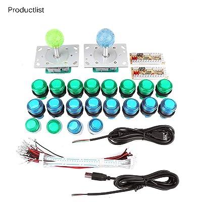 LED Arcade DIY Parts DIY Arcade Kit, 20 Botones de Juego de Arcade iluminados con LED DIY + 2 Joysticks + 2 Kit de codificador USB Juego de Piezas de Juego para PC: Electrónica