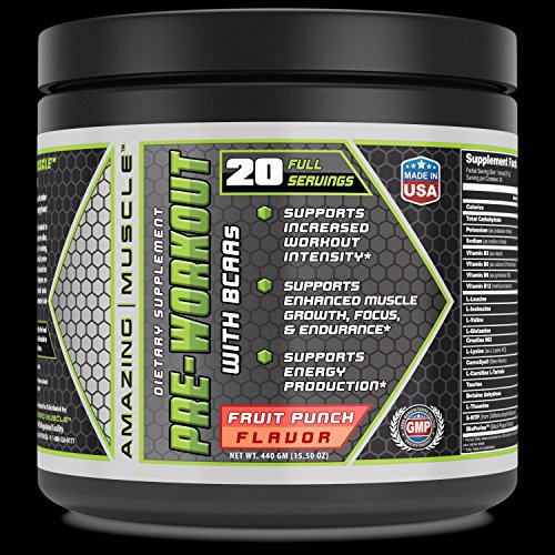 Amazing Muscle Pre-workout BCAA Fruit Punch -Supports increased workout intensity* -Supports enhanced muscle growth, focus & endurance -Supports energy production*
