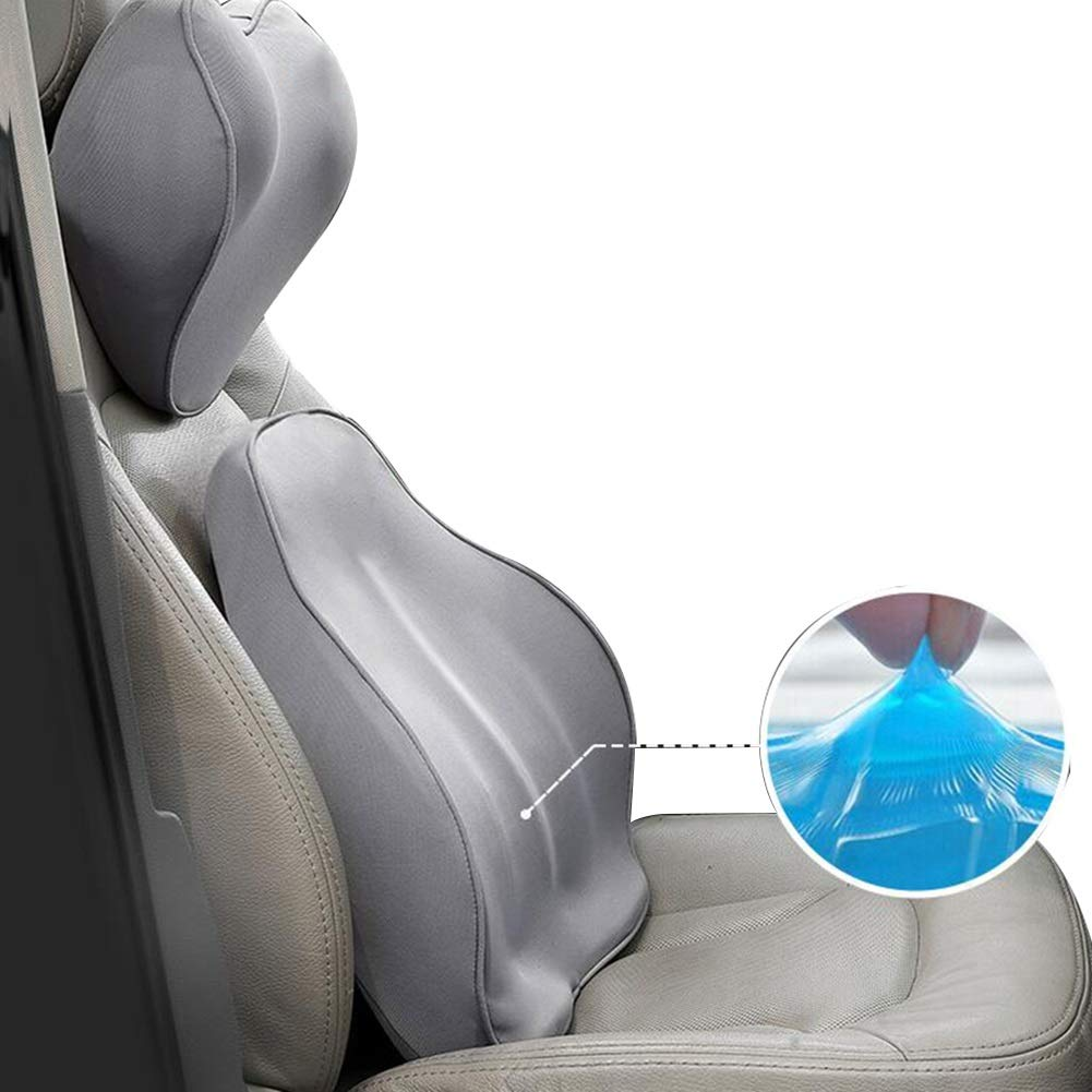 RUIRUIY Car Lumbar Pillow Cushions Support Back Cushion Four Seasons Available Removable Cleaning Ergonomics Curve Design, 4 Colors, 2 Sizes (Color : Gray, Size : 45.5X39X11CM)