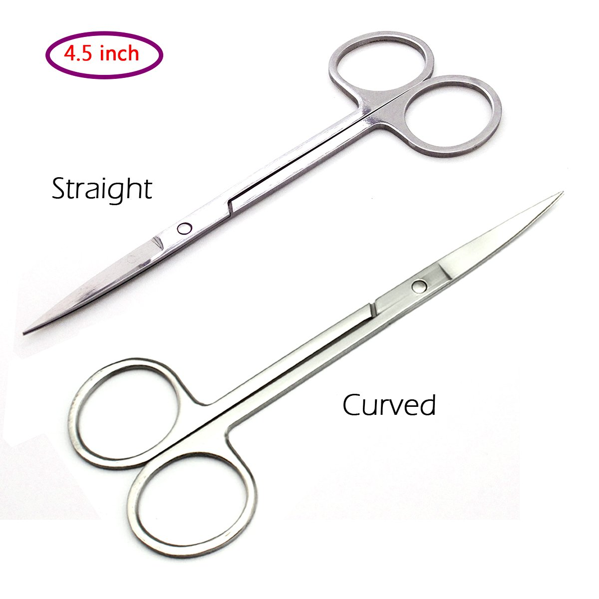 4.5 Inch Long Eyebrow Scissors Stainless Steel Beard Trimmer Elongated Straight Scissors for Grooming Sewing (Straight) Focstar