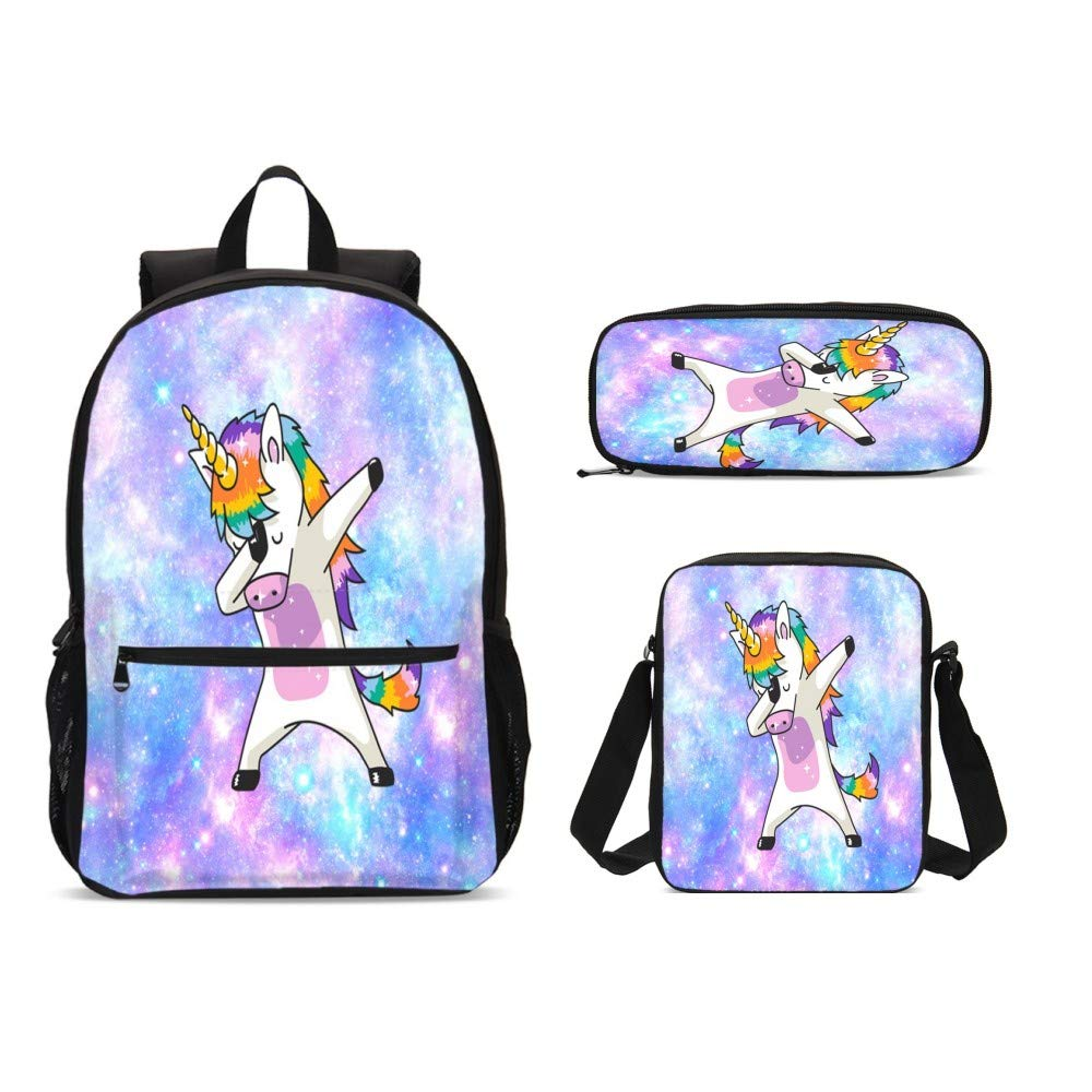 DuJiea Unicorn Galaxy Kids Backpack Set 3 Piece Student Back To School Book Bag with Shouder Bag Pencil Case for Boys Girls 1-6th Grade