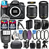 Holiday Saving Bundle for D7100 DSLR Camera + AF-P 70-300mm VR Lens + 18-105mm VR Lens + 2 Of 32GB Card + 1yr Extended Warranty + Flash + + 1, + 2, + 4 & + 10 Macro Filter - International Version
