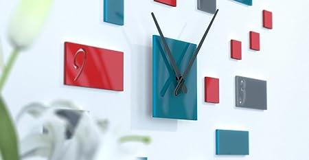 Black Salon Design Wall Clock Red And Dark Grey Rouge