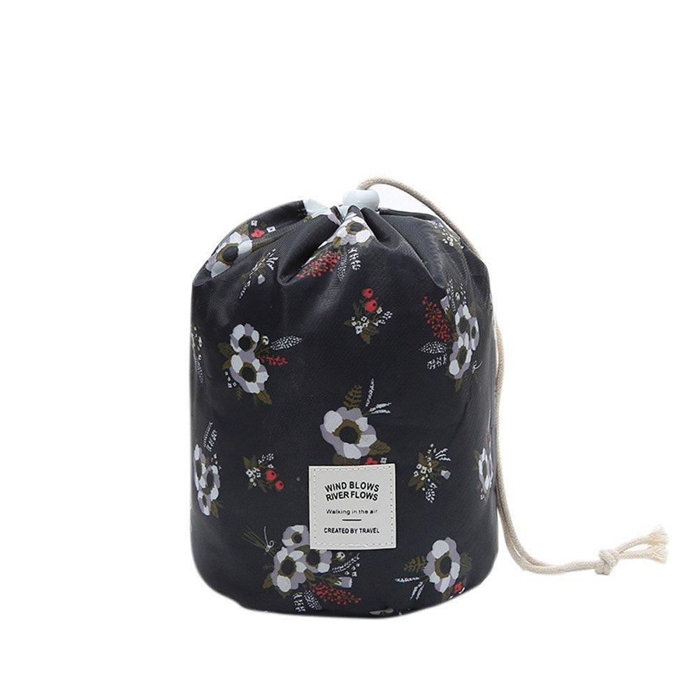 Ochioly Toiletry Bag Travel Makeup Bag Men Women Hanging Wash Bags Large Capacity Drawstring Cosmetic Make up Bag Blue + Mini Pouch + Clear PVC Brush Bag (Flowers)