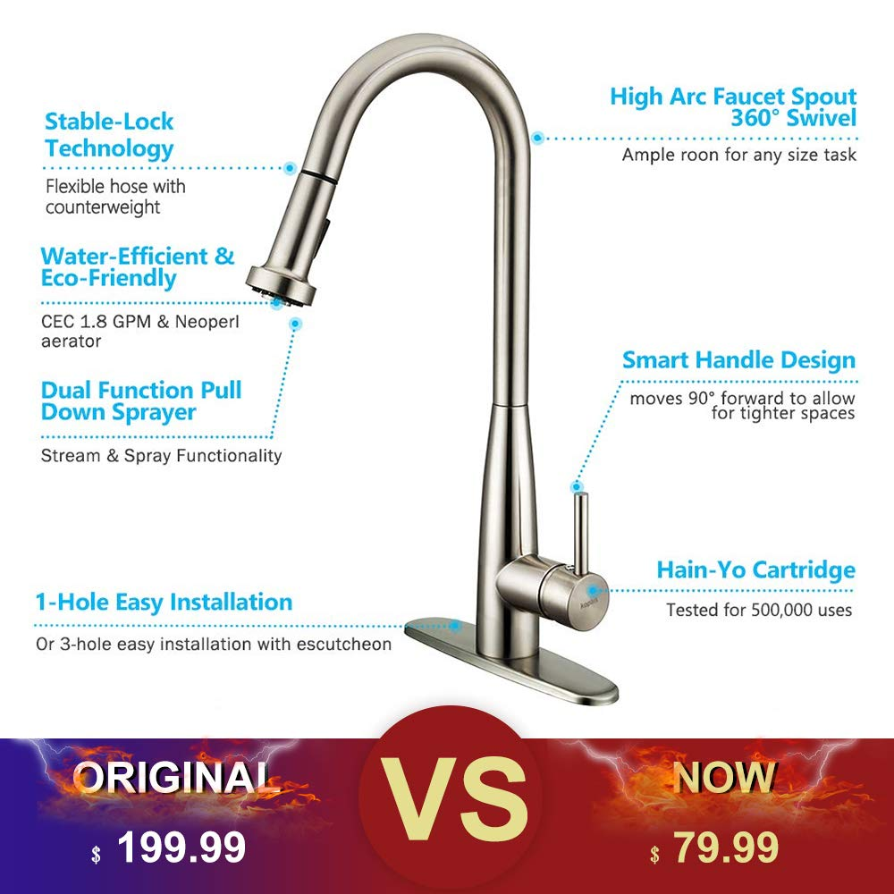 Single lever Deck Mounted Stainless Steel Pull Out Kitchen Faucet KOPAIS 1-Handle High Arch Brushed Nickel Kitchen Sink Faucets with Sprayer cUPC Certification KP-A55WX-KF-002 Kitchen Faucet with Pull Down Sprayer