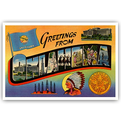GREETINGS FROM OKLAHOMA vintage reprint postcard set of 20 identical postcards. Large letter US state name post card pack (ca. 1930's-1940's). Made in USA.