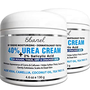 Urea Cream 40% Plus Salicylic Acid, 2-Pack, Callus Remover Hand Cream Foot Cream For Dry Cracked Feet, Hands, Heels, Elbows, Nails, Knees, Intensive Moisturizes & Softens Skin, Exfoliates Dead Skin